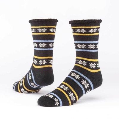 Maggie's Organics Poinsettia Black Merino Wool Snuggle Socks