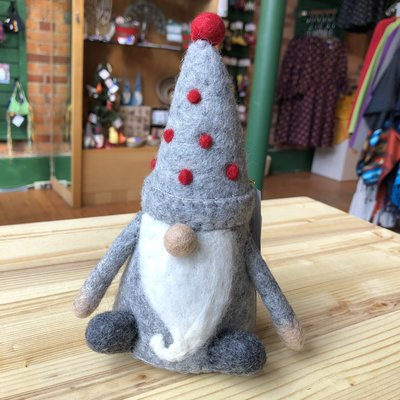 Global Crafts Holiday Seated Felt Gnome