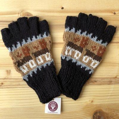 Minga Imports Alpaca Blend Incan Fingerless Gloves Brown