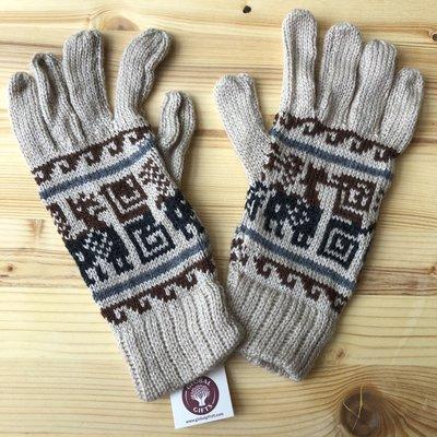 Minga Imports Alpaca Blend Incan Gloves Oatmeal