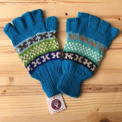Minga Imports Fleur Alpaca Blend Fingerless Gloves Blue