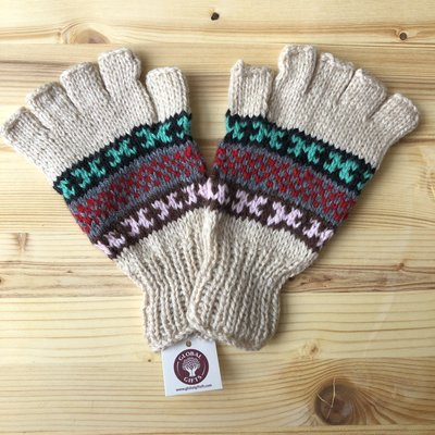 Minga Imports Fleur Alpaca Blend Fingerless Gloves Cream
