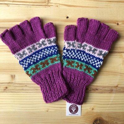 Minga Imports Fleur Alpaca Blend Fingerless Gloves Purple