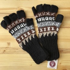 Minga Imports Fleur Alpaca Blend Fingerless Gloves Black
