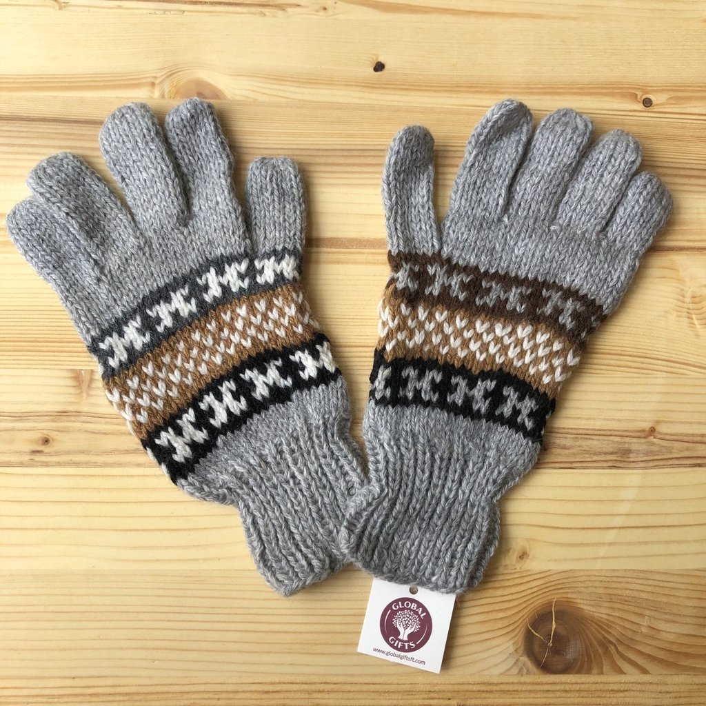 Minga Imports Fleur Alpaca Blend Gloves Grey