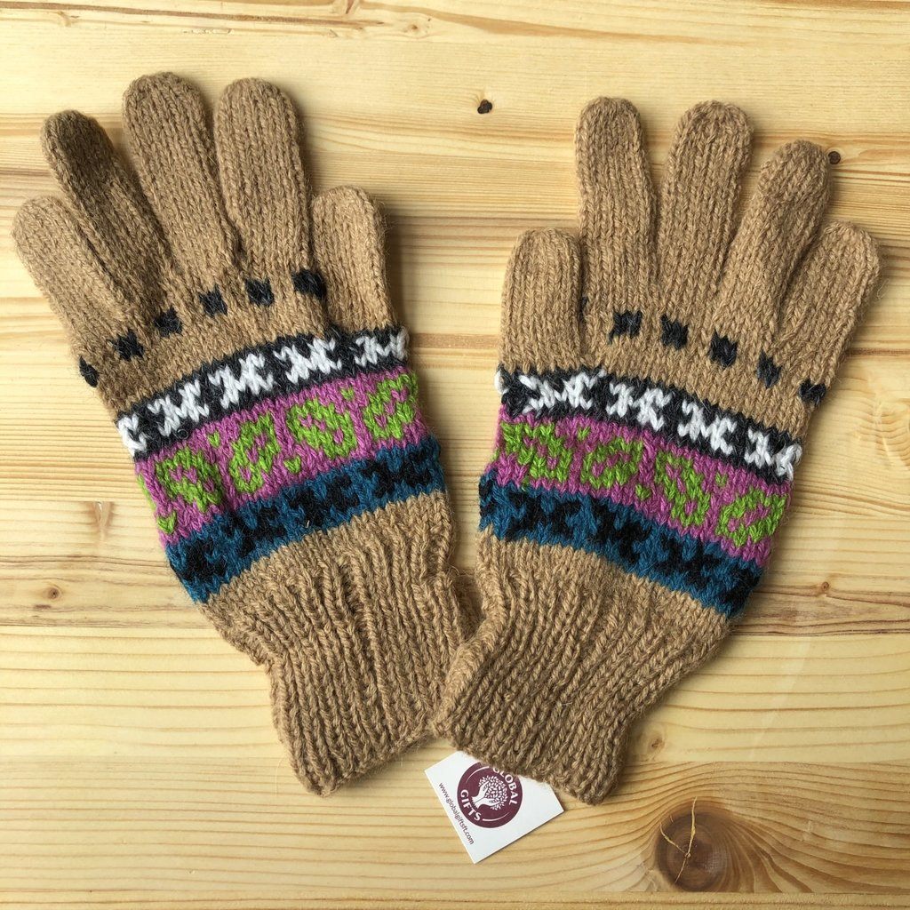Minga Imports Fleur Alpaca Blend Gloves Tan