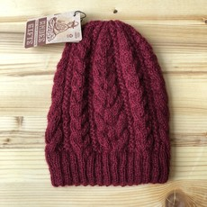 Andes Gifts 100% Upcycled Alpaca Cable Hat: Burgundy