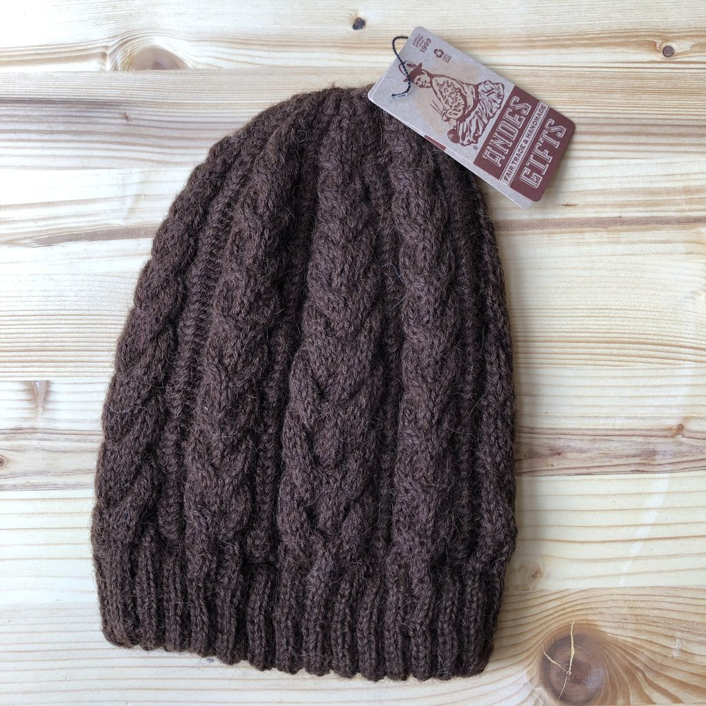 Andes Gifts 100% Upcycled Alpaca Cable Hat: Brown