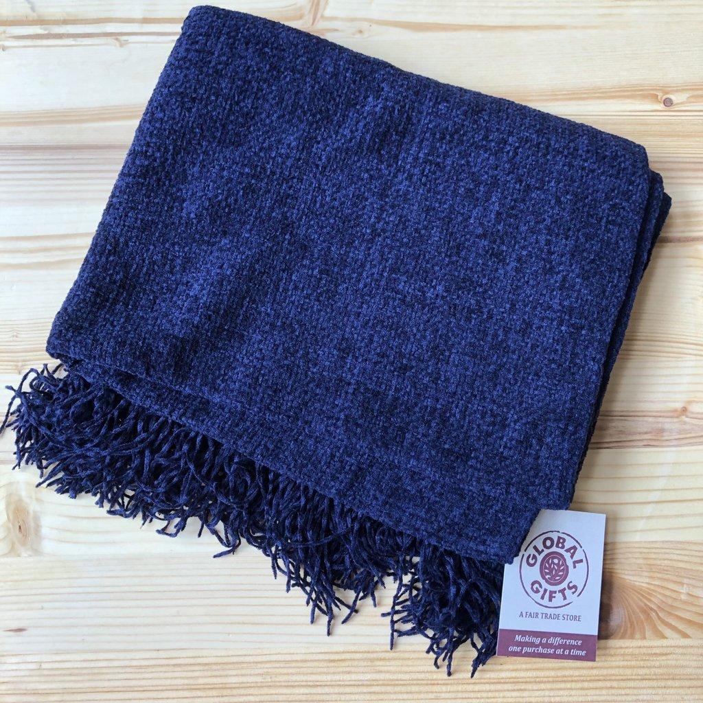 Minga Imports Chenille Acrylic Scarf Dark Blue