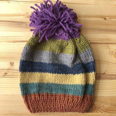 Creation Hive Kenyan Sunrise Merino Wool Striped Knit Hat