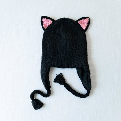 Andes Gifts Adult Animal Hat: Black Cat