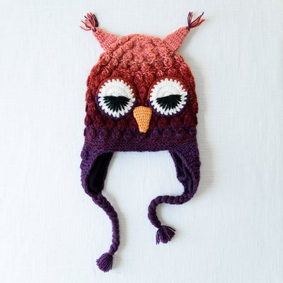 Andes Gifts Kids Animal Hat: Purple Owl
