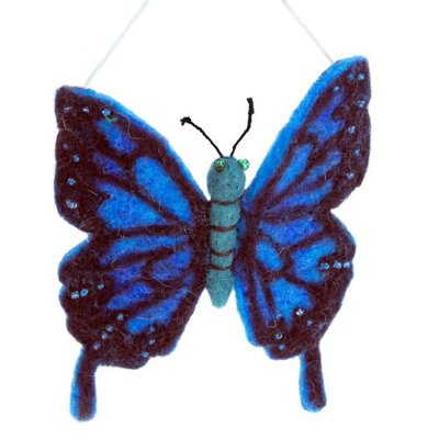 DZI Handmade Blue Swallowtail Butterfly Felted Wool Ornament