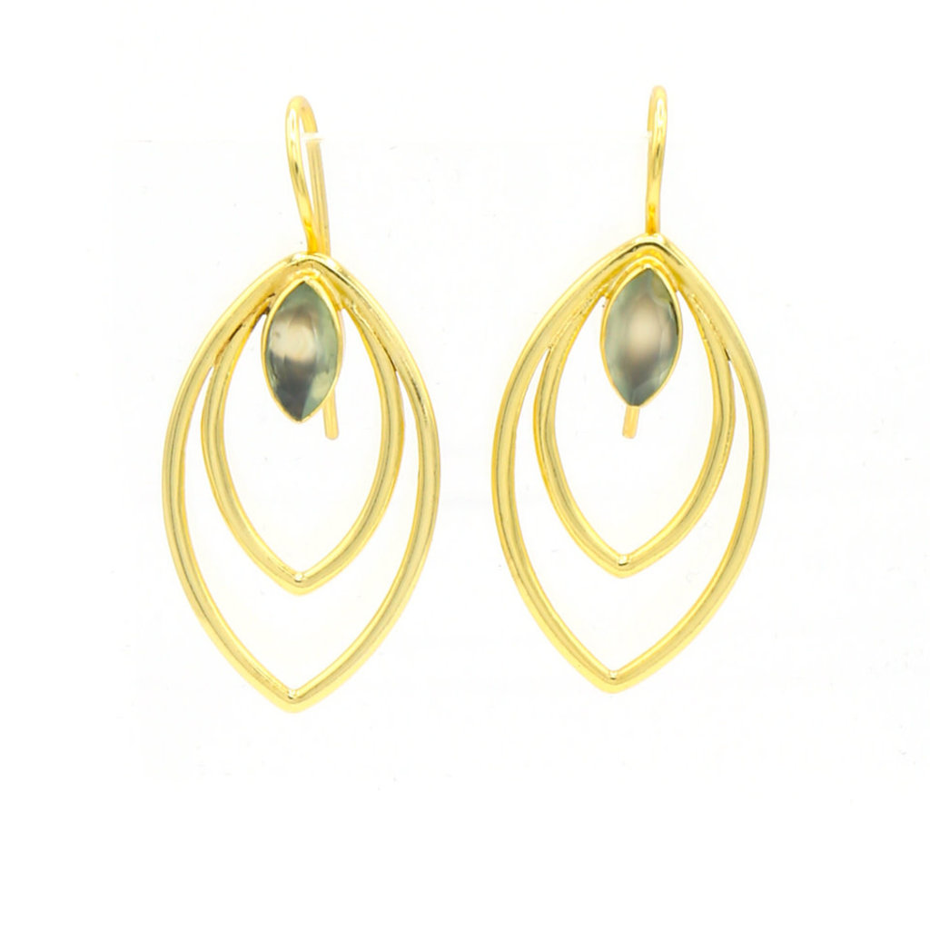Fair Anita Leaf Drop Earrings - Brass