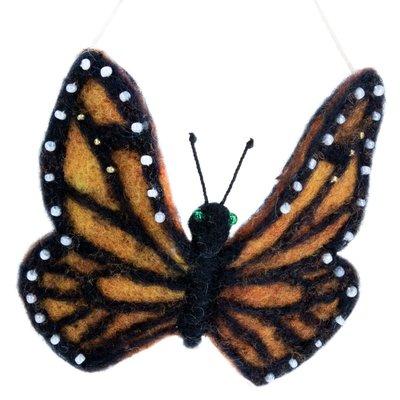 DZI Handmade Monarch Butterfly Felted Wool Ornament