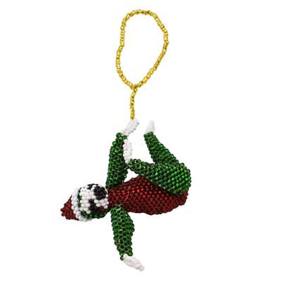 Unique Batik Deluxe Beaded Ornament: Santa Hat Sloth