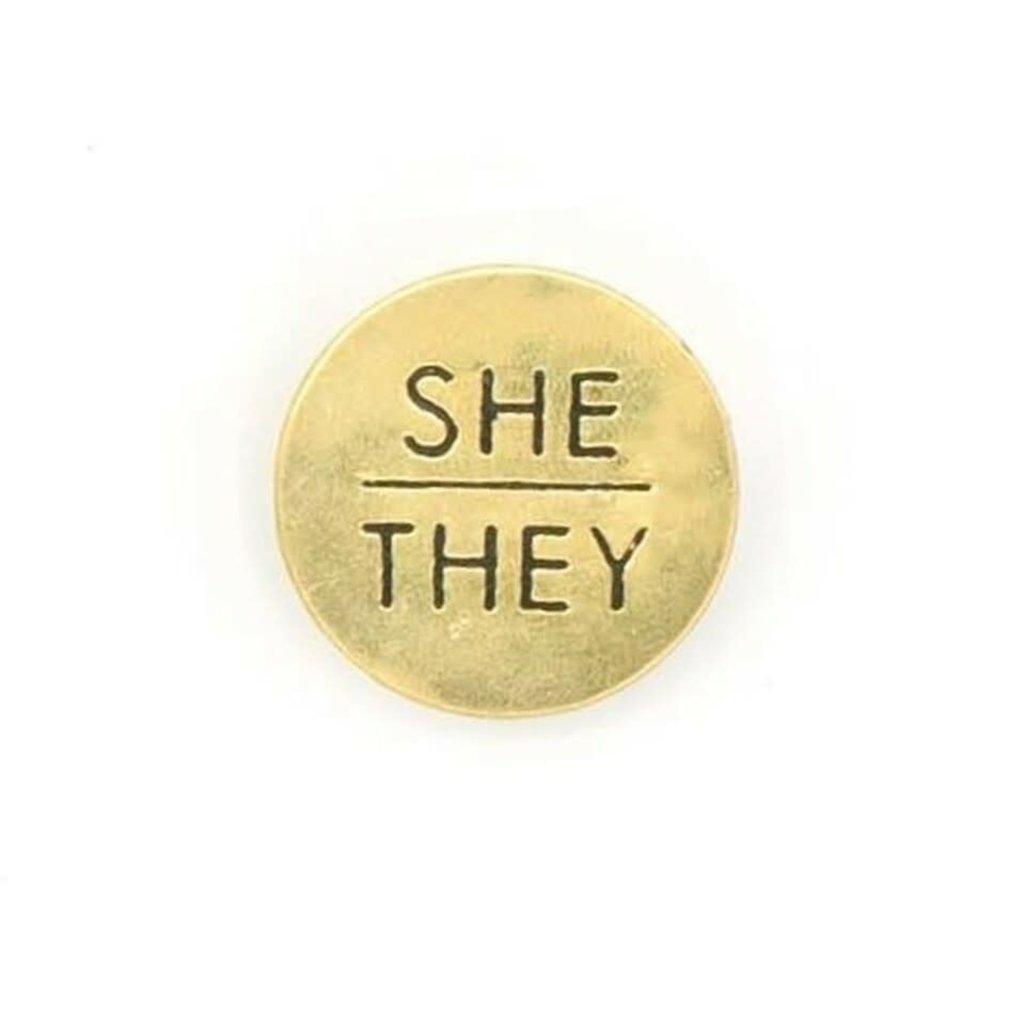 Fair Anita She/They Pronoun Round Pin