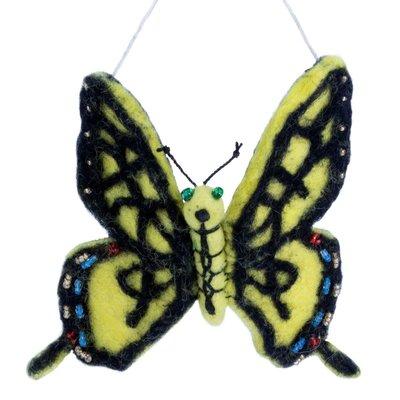 DZI Handmade Tiger Swallowtail Butterfly Felted Wool Ornament