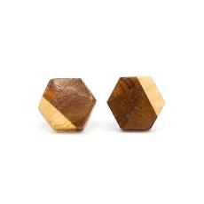 Fair Anita Wooden Hexagon Stud Earrings