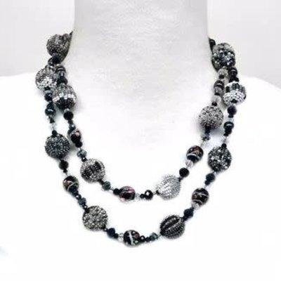 Unique Batik Carousel Necklace: Black