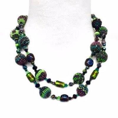 Unique Batik Carousel Necklace: Green