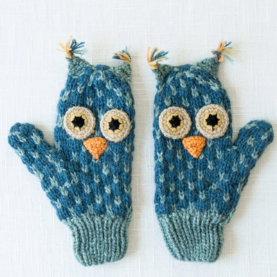 Andes Gifts Kids Animal Mitten Grey Owl