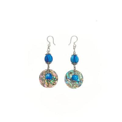 Serrv Saffa Abalone & Silk-wrapped Bead Earrings