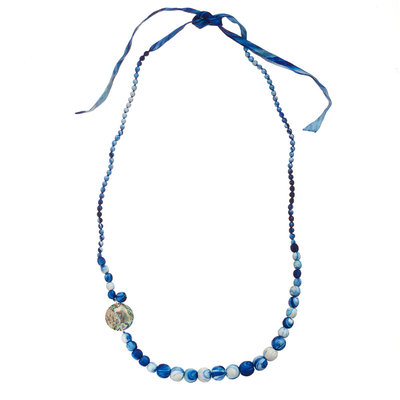Serrv Saffa Abalone & Silk-wrapped Bead Necklace