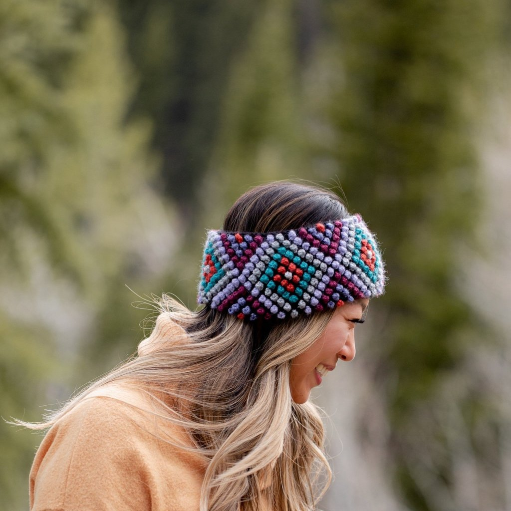 Andes Gifts Diamond Knit Ear Warmer: Lilac