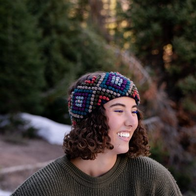 Andes Gifts Diamond Knit Ear Warmer: Ash