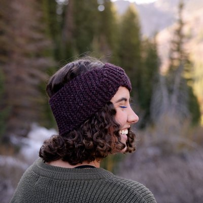 Andes Gifts Cusco Blended Ear Warmer: Plum