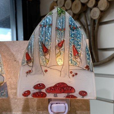 PamPeana Gnomes Fused Glass Night Light