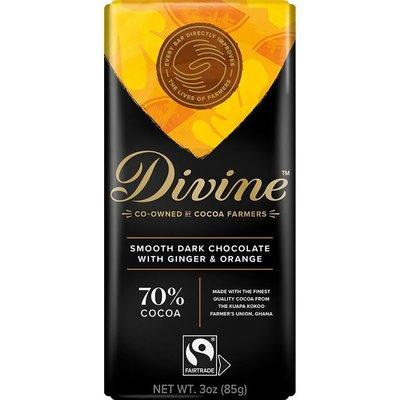 Divine Chocolate Dark Chocolate with Ginger & Orange Large Bar 3oz
