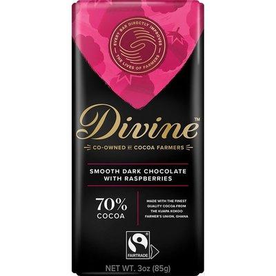 Divine Chocolate Dark Chocolate with Raspberries Large Bar 3oz