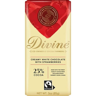 Divine Chocolate White Chocolate with Strawberries Large Bar 3oz