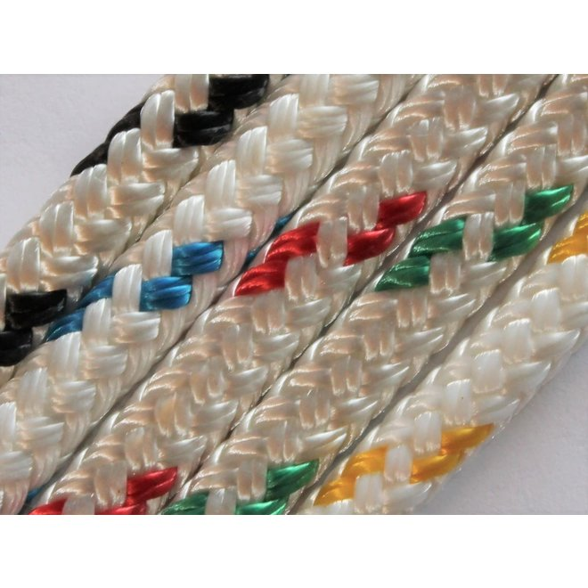Yacht Braid 3/16 Rope White w Tracer