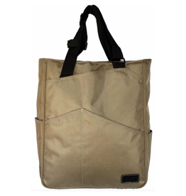 MAGGIE MATHER TENNIS ZIPPER TOTE: KHAKI