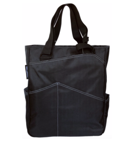 MAGGIE MATHER TENNIS ZIPPER TOTE: BLACK