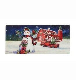 Christmas Barn Snowman Switch Mat Insert