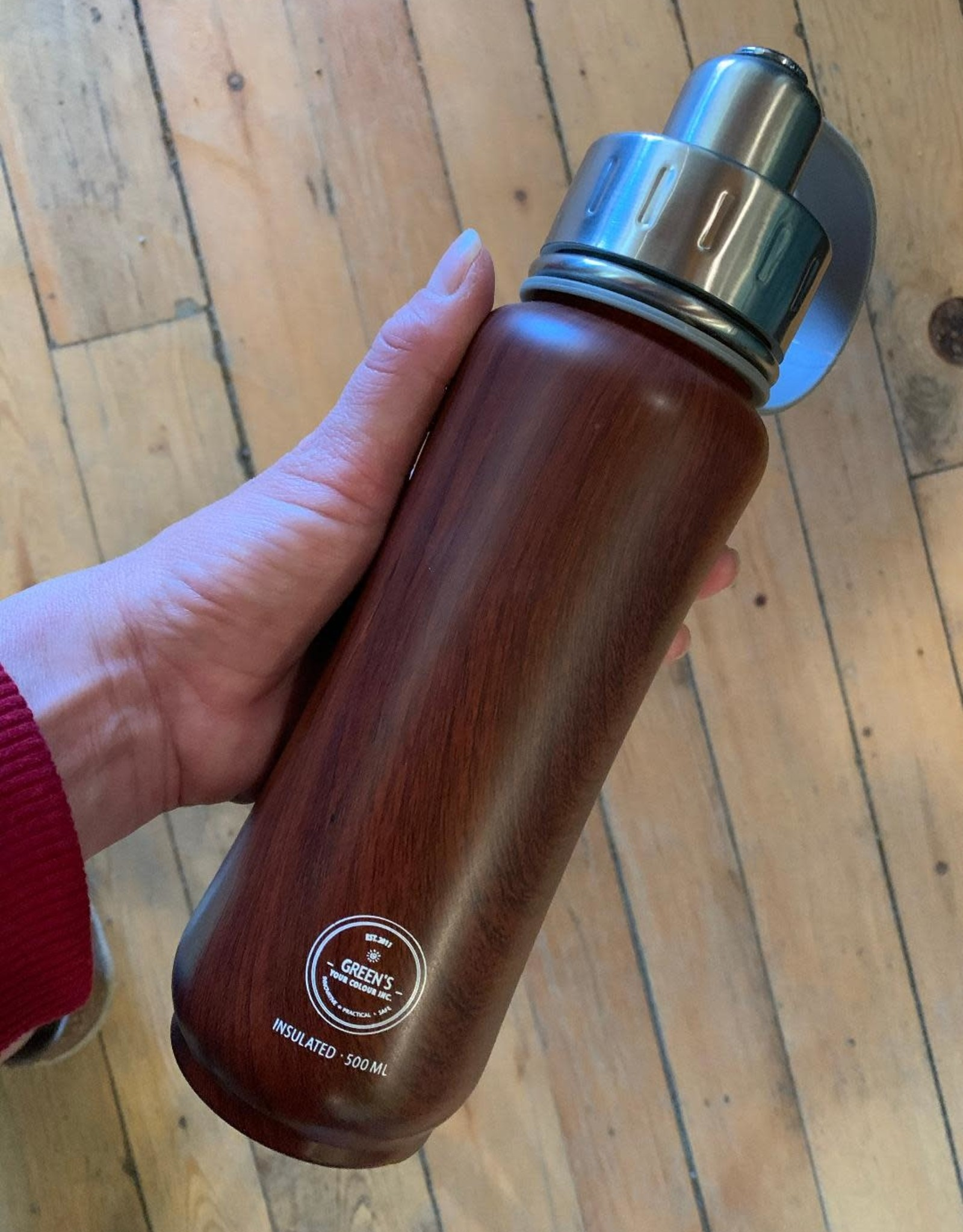 Tripple Insulated Water Bottle 500ml - Wood Grain