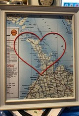 Sadie & June Embroidered Heart Map 9.5 x 11.5