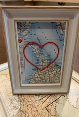 5x7 Framed Peninsula Map with Embroidered Heart