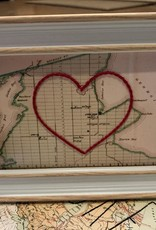 5x7 Framed Map of Lions Head with Embroidered Heart