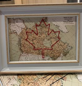 5x7 Framed World Map with Embroidered Maple Leaf