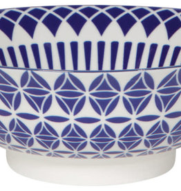 Stamped Bowl Blue Geo 8 inch