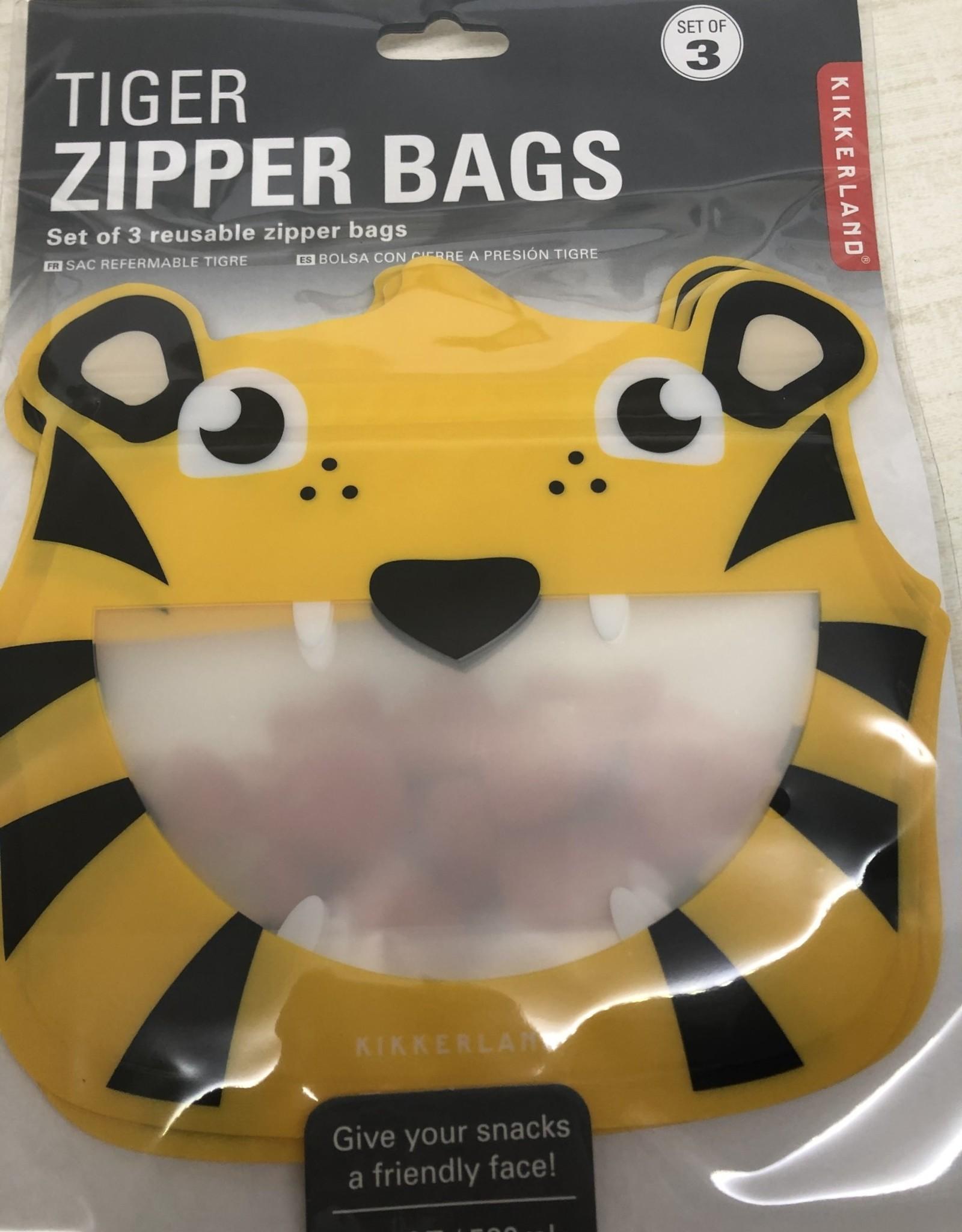 Tiger Zipper Bags  Set of 3