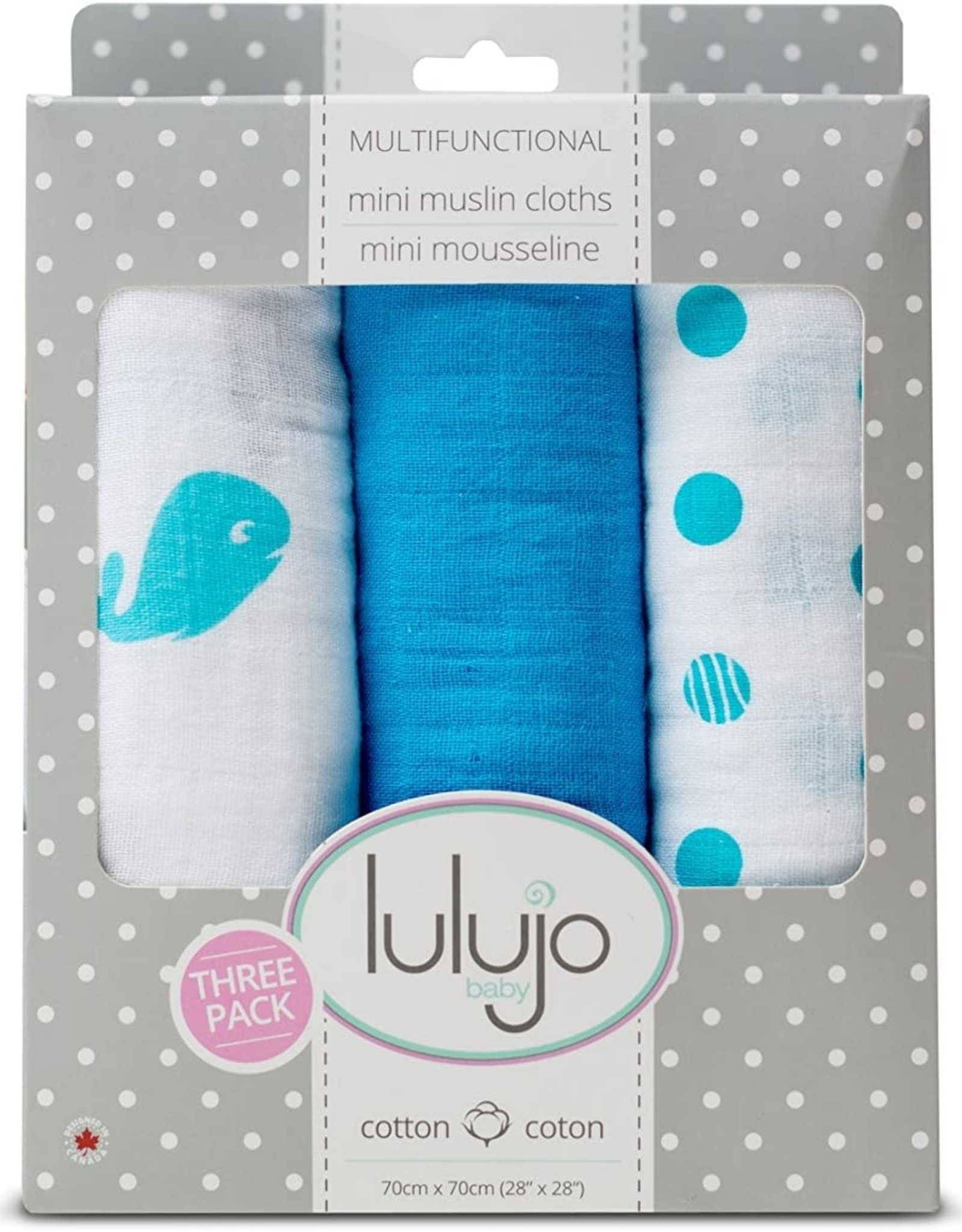 Mini Muslin Cloths  3 pack blue