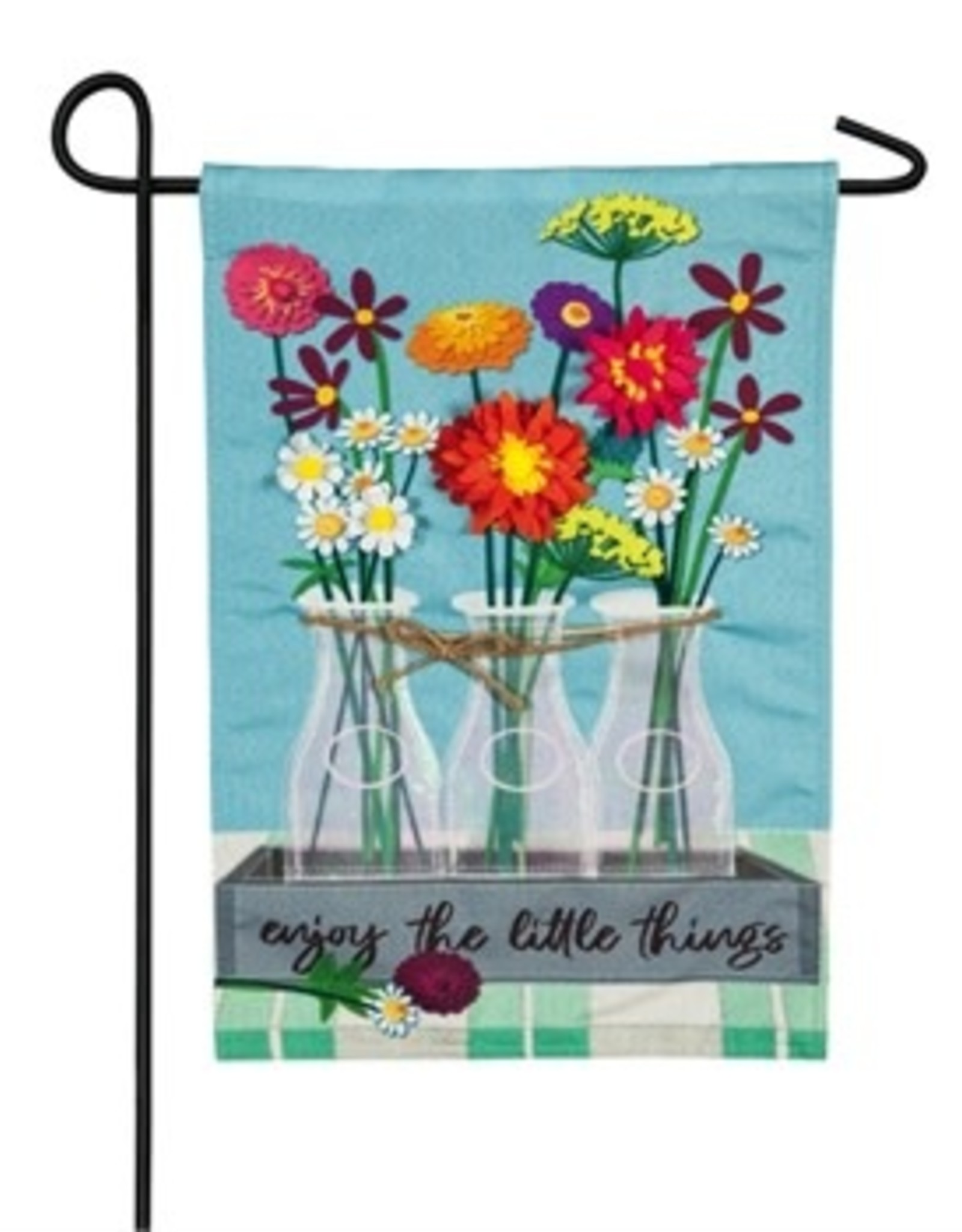Floral Milk Bottle Garden Flag