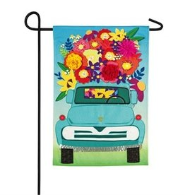 Mint Flower Truck Garden Flag
