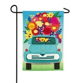 Mint Flower Truck Garden Flag